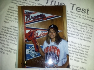 This was the back of my bedroom door.  The rest of my room was decked out in baseball paraphernalia. Very feminine. :)